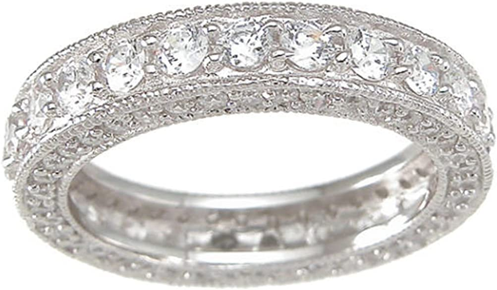 Vintage Style Sterling Silver CZ Wedding Anniversary Band Ring for Women Size 5-9