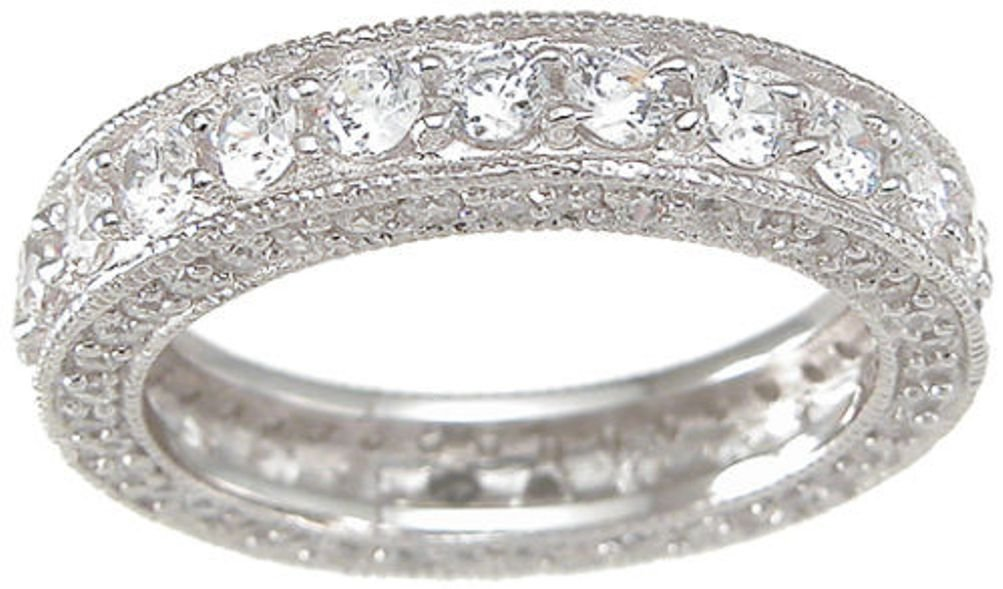 Vintage Style Sterling Silver CZ Wedding Anniversary Band Ring Size 8