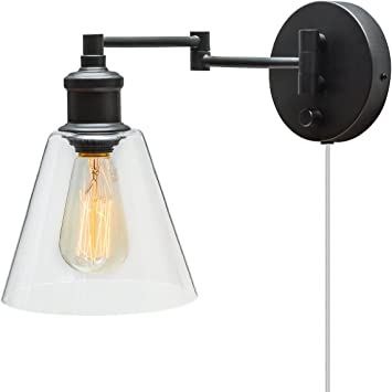 Black Wall-Mount Sconce Light Task Lamp Hardwire Plug-In Reading 6ft Clear Cord
