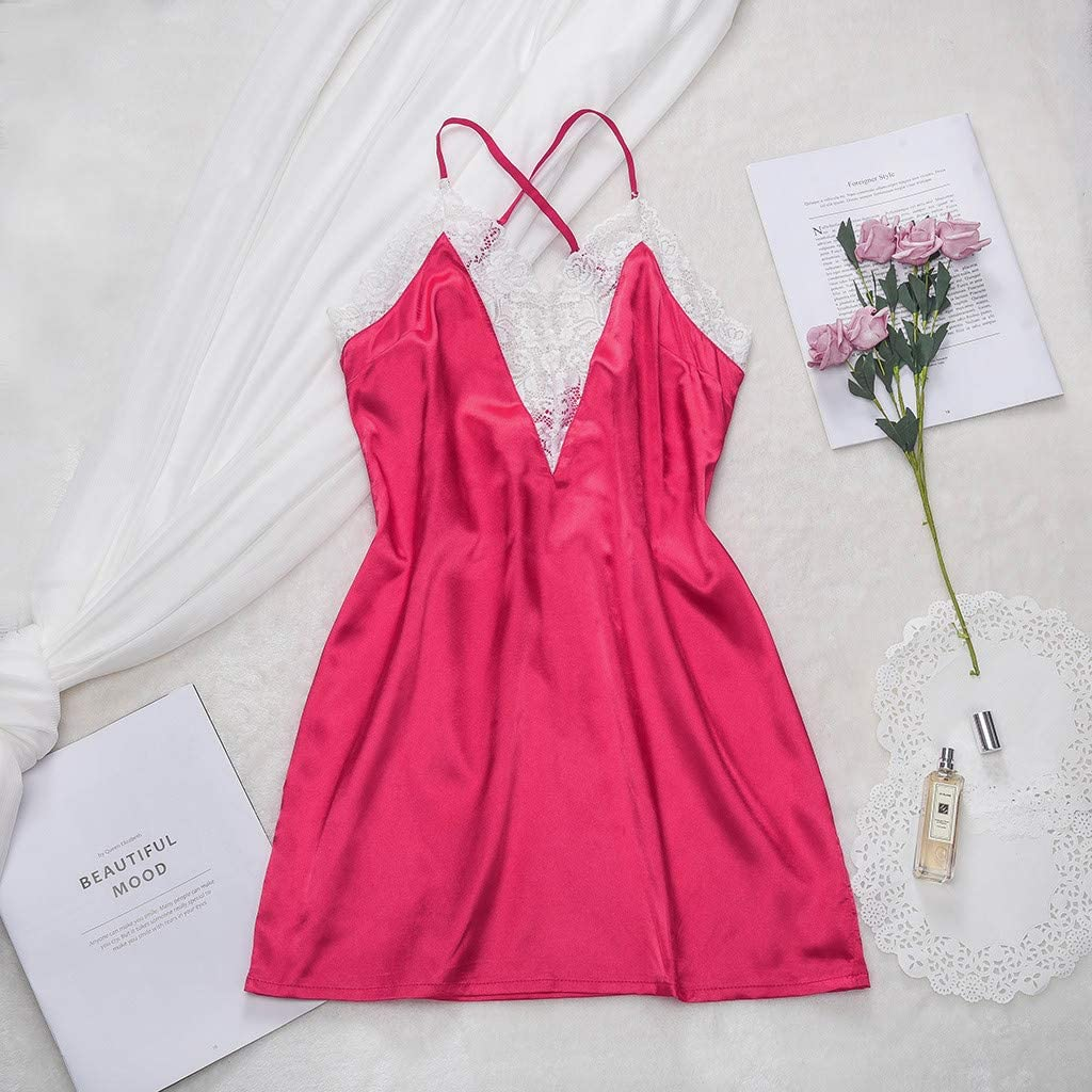 Womens 1PC Satin Babydoll Lace Lingerie Chemises Dress Bodysuit Nightwear Nightgown Pajama Nightdress