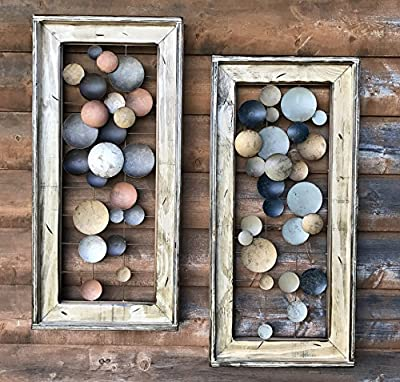 """Wall Art Metal Framed BUBBLES circles *Wood Distressed Antique White Cream *Rustic Home Decor Vertical Artwork *Copper Blue Charcoal Black Gold 16""""X35"""" *for Living Room, entryway, porch *Large"""