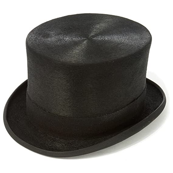24fb7e640539e ... 3b2578db53a Clermont Direct Black Polished Fur Top Hat Amazon.co.uk  Clothing ...