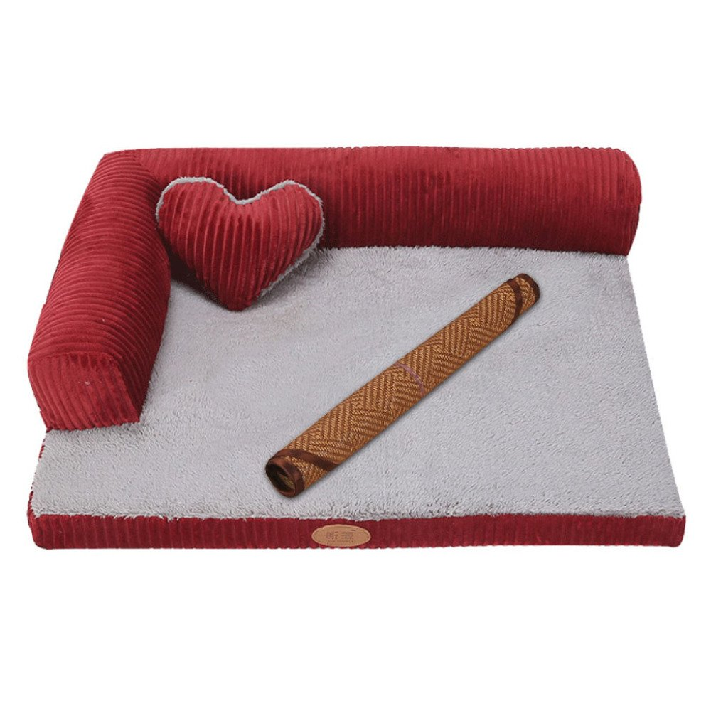 LDFN Dog Pillow Bed Removable And Washable Four Seasons General Large Medium Small Size Dog Mattress Sofa Cushions,Red-XL