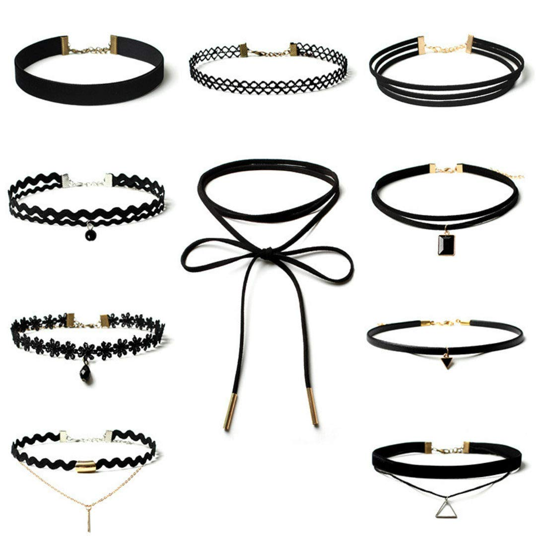 Pendant Necklace for Women, 10Pieces Choker Necklace Set Stretch Velvet Classic Gothic Tattoo Lace Choker,Girls' Necklaces,Black,Women Jewelry