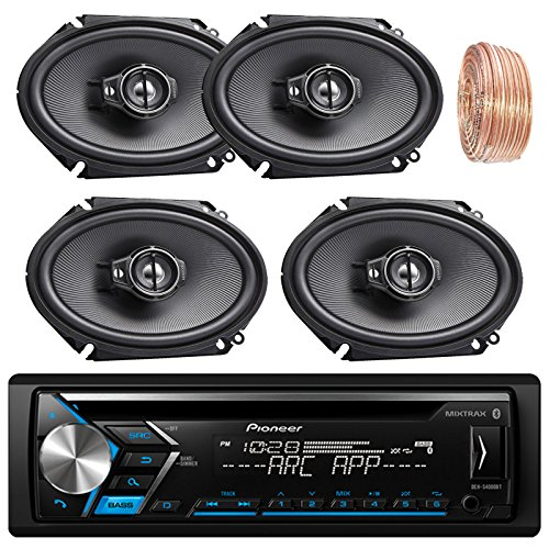 Pioneer DEH-S4000BT Car Bluetooth Radio USB AUX CD Player Receiver - Bundle Combo With 4x Kenwood KFC-C6895PS 720-Watt 6x8