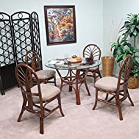 Premium Rattan Dining Furniture Sundance 5PC Set Geneva Flax Fabric (Walnut Finish)