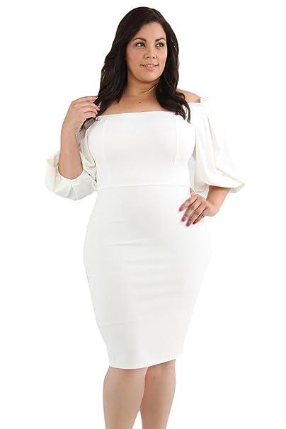 Vestidos La Vestimenta Femenina de una Sola Pieza de Media Manga Collar XL Paso,Blanca