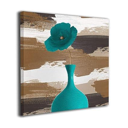 Amazon.com: Alan-Art Teal Brown Flower Wall Decor Canvas ...