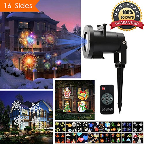 Christmas Light Projector, Ernovo Led Landscape Spotlight with 16 Pieces Switchable Patterns Waterproof Moving Rotating Led Projector Light Show for Halloween, Birthday Party,Holiday (Outdoor Light Projector Halloween)