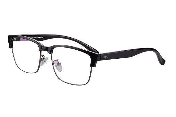 Amazon.com: Semi-Rimless Glasses Frame Clubmaster Style Blue ...