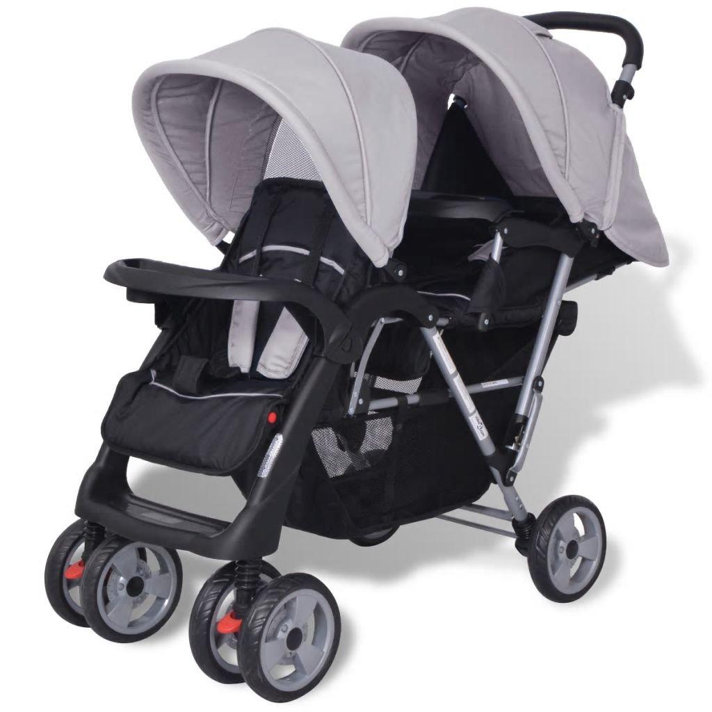 Grey and Black Festnight Baby Tandem Stroller//Pram Lightweight Pushchair Steel and Fabric 118x41x108 cm