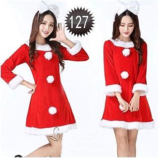 SDLRYF Père Noël Costume Costume De Femme De Noël Père Noël Rouge Cos(Costume Vêtements Convient pour 45-55Kg)