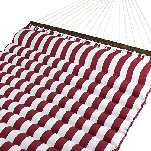 Trendy Deluxe Double Two Person Pillow Top Hammock Extra Comfort Vibrant Red White Stripe Comfortable On Those Cool Summer Evenings In The - Sarasota Armand Florida Circle