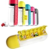 ShopAIS Daily 600ML Pill Box Organizer With Water Bottle Weekly Seven Compartments With Drinking Bottle ( Random Color)