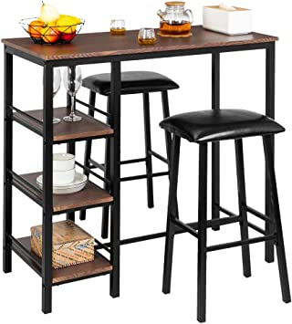 Bonnlo 3-Piece Pub Table Set Counter Height Dining Table Set Kitchen Dining  Bar Table with 2 Upholstered Stools & 3 Open Storage Shelves