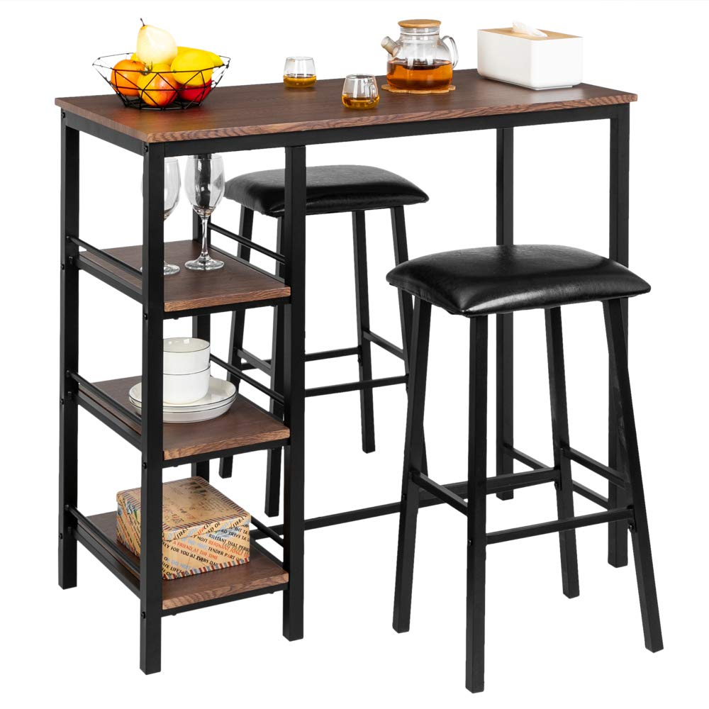 Bonnlo 3-Piece Counter Height Dining Table Set Kitchen Dining Pub Bar Table with 2 Upholstered Stools & 3 Open Storage Shelves by Bonnlo