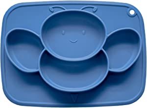 Suction Babies Plates, Food-Grade Silicone Divided Placemat for Babies Infants Toddlers Kids Dishes, Stick to High Chair Trays and Table,Microwave Dishwasher Safe (Cute Bee, Baby Blue)