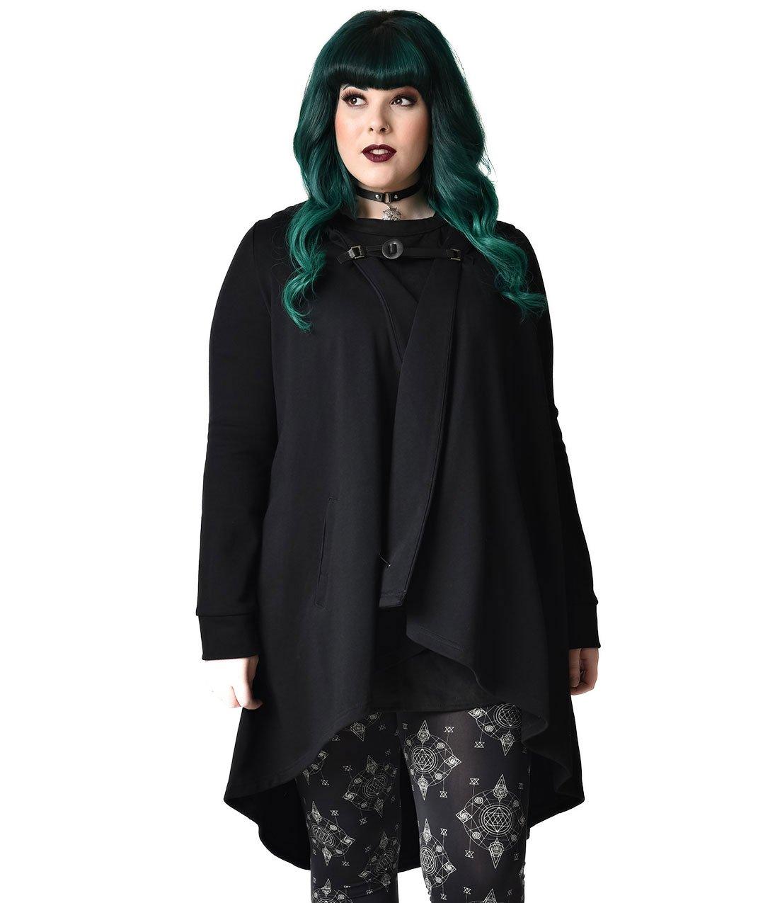 Unique Vintage Gothic Style Black Hooded Cotton Coat by Unique Vintage