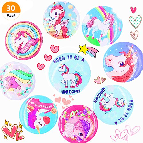 (30 pcs) Sakolla Magical Unicorn Birthday Girl Badges Unicorn Rainbow Buttons Pin Brooch Gift Party Favors Decorations Supplies