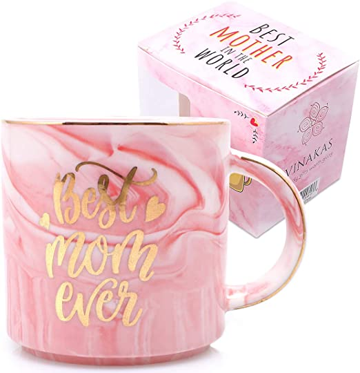 Amazon Com Best Mom Birthday Gifts Gift Ready 12oz Gold And Pink Ceramic Marble Coffee Cup Perfect As Gifts For Mom Mother Coffee Mug Mother Birthday Present And Mom Stocking Stuffers