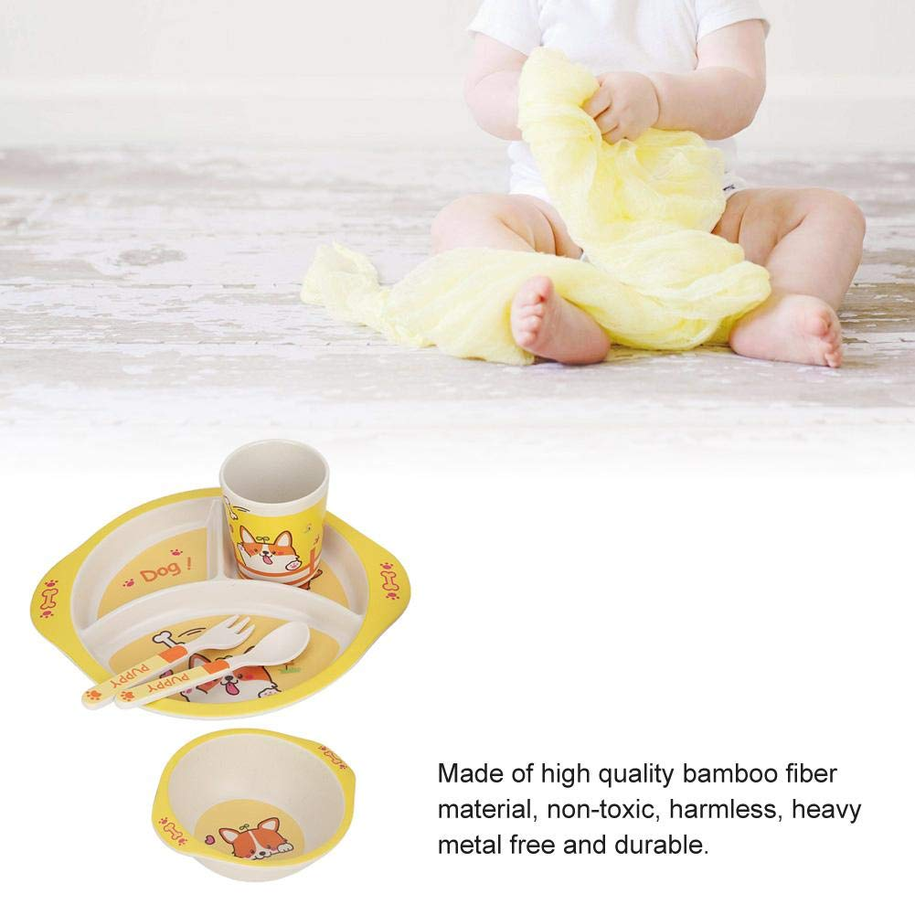 Elephant Bamboo Fiber Kids Plate Bowl Cup with Lid Fork Spoon Children Tableware