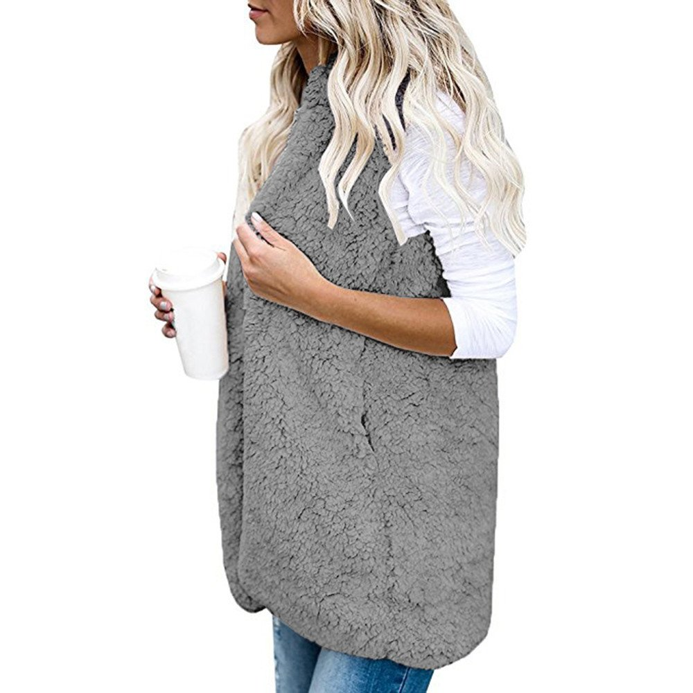 Sunyastor Winter Warm Outwear Casual Coat Sherpa Jacket Overcoat with Pocket Womens Faux Fur Sleeveless Vest