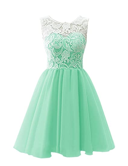 MICBRIDAL Flower Girl/Adult Ball Gown Lace Short Prom Dress Mint Green Age13