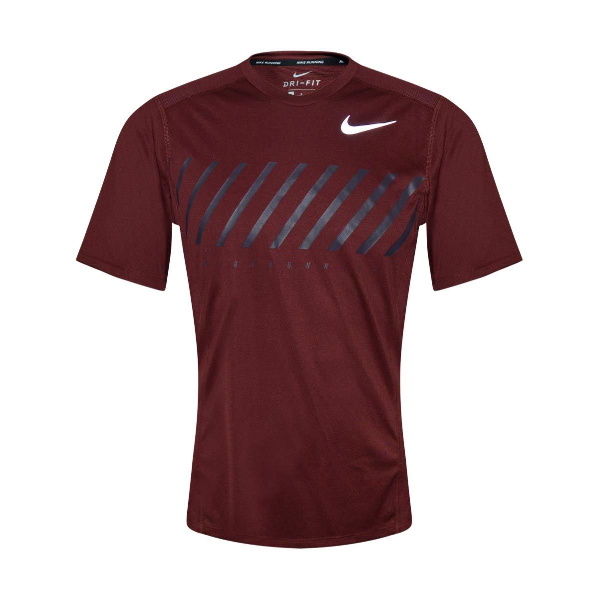 Nike Men's Dri-Fit Short Sleeve Running Top (Maroon, Small)