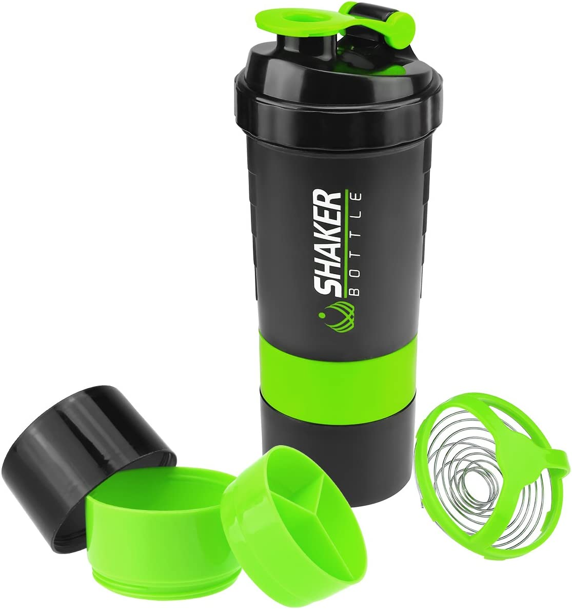 VIGIND Protein Shaker Bottle - Sports Water Bottle - Non Slip 3 Layer Twist Off 3oz Cups with Pill Tray - Leak Proof Shake Bottle Mixer- Protein Powder 16 oz Shake Cup with Storage
