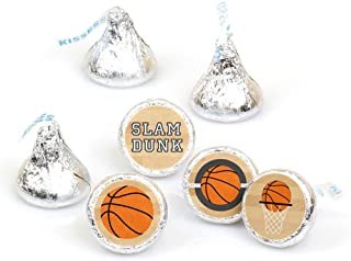 product image for Big Dot of Happiness Nothin' but Net - Basketball - Party Round Candy Sticker Favors – Labels Fit Hershey's Kisses (1 sheet of 108)