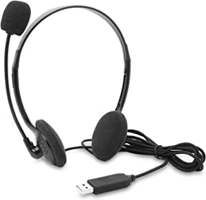 USB Headset Computer Headset with Noise Cancelling Microphone, Lightweight PC Headset Wired Headphones Business Headset for Skype Webinar Cell Phone Call Center