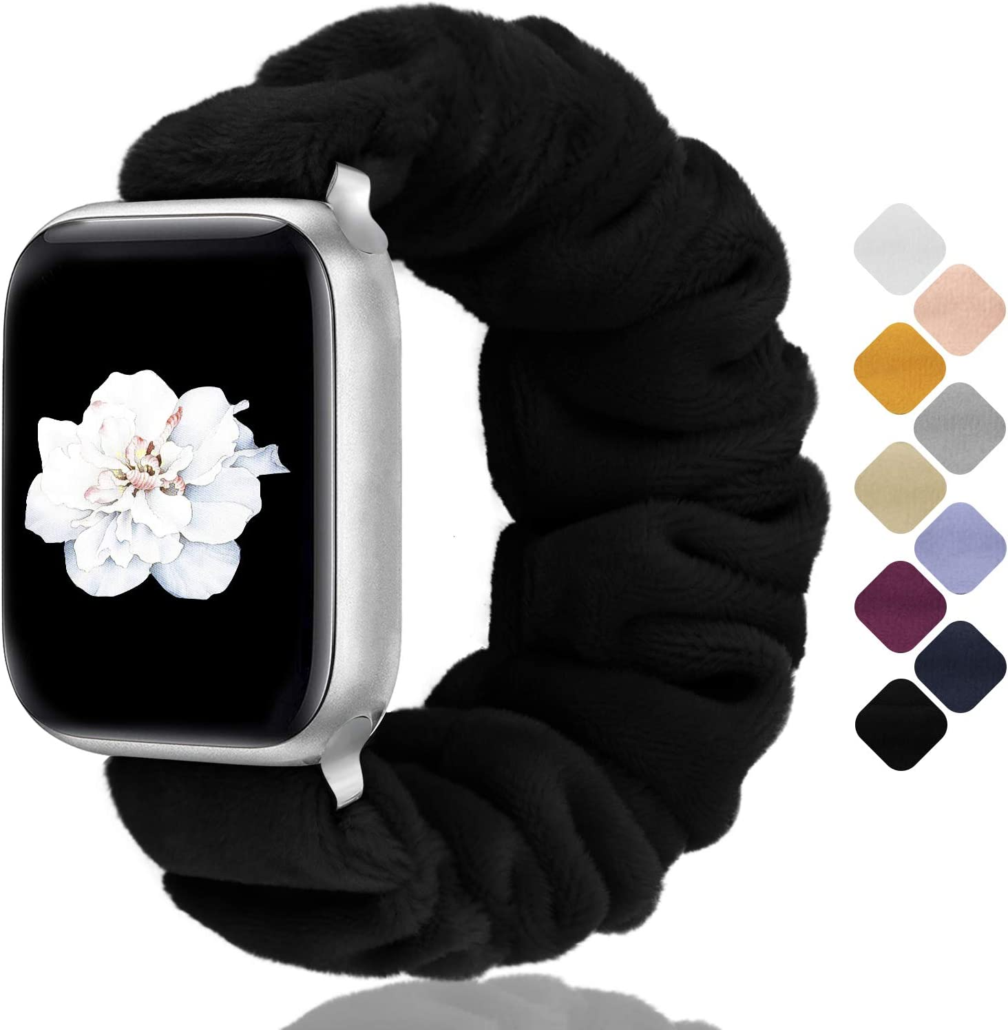 Greatfine Compatible with Apple Watch Band Scrunchie 38mm 40mm 42mm 44mm for Women,Stretchy for iwatch Bands,Short Plush Fabric Bracelet Straps for Apple Watch Series SE 6 5 4 3 2 1(Black,38/40-S)