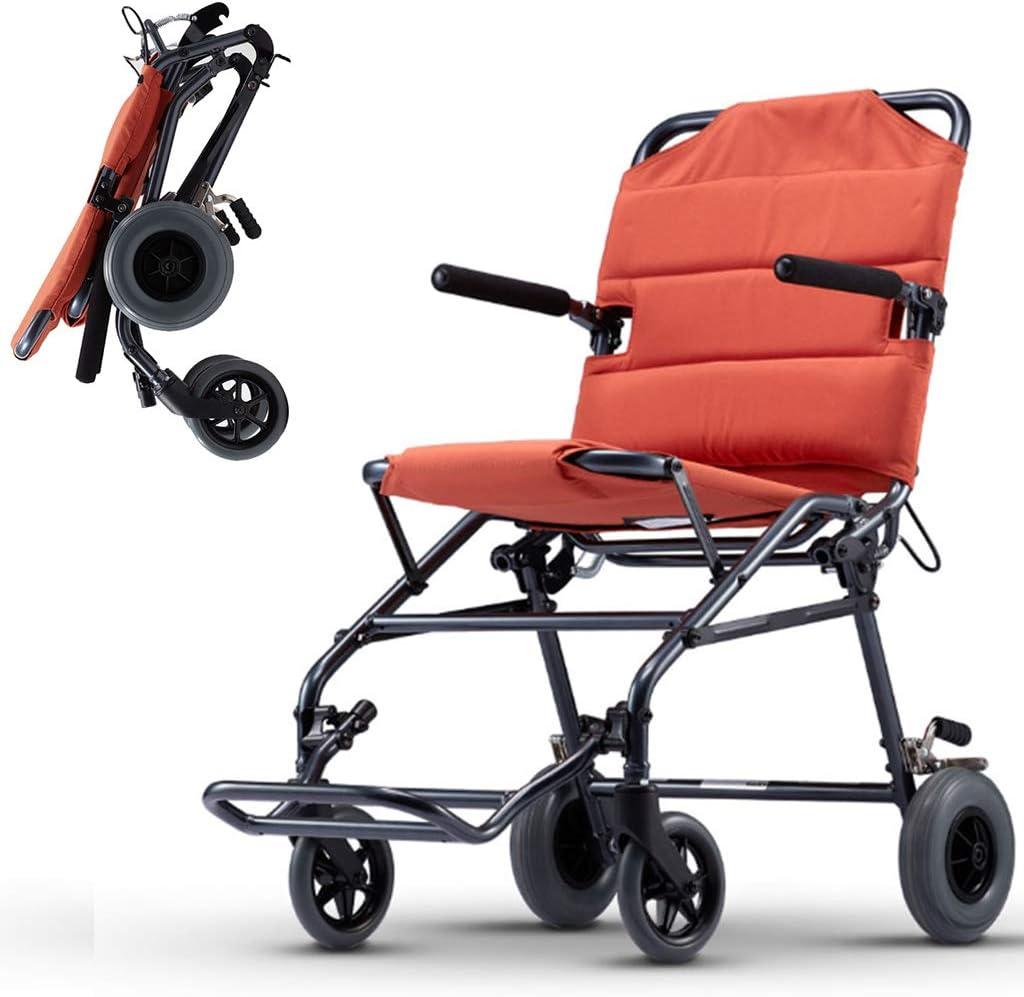 Silla de ruedas manual, plegado rápido de tres segundos que puede subir al avión. Silla de ruedas portátil ultraligera de viaje.