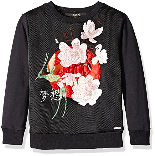 GUESS Big Girls' Glamour Fleece Top with Applique and Embroidery, Noir/Jet Black a, - Glamour Tee Girl