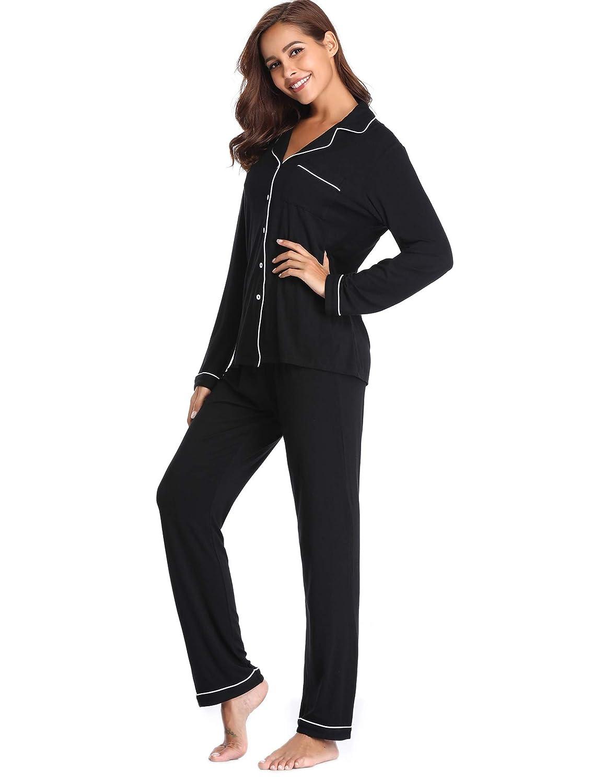 Lusofie Pajama Set Women Long Sleeve Sleepwear Soft Knit Loungewear Notch  Collar Pjs at Amazon Women s Clothing store  67098105c
