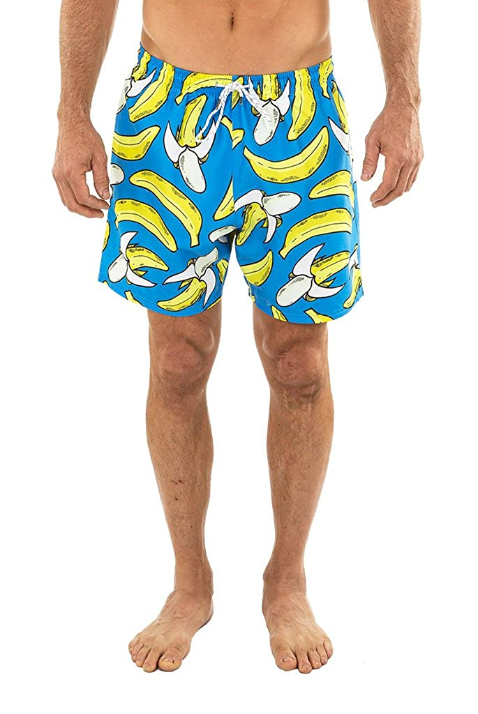UZZI Men's Malibu Quick Dry Printed Short Swim Trunks