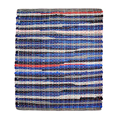 Cotton Craft - Hand Woven Reversible 100% Cotton Multi Color Chindi Rag Rug - 8 x 10 Feet - Rug is Made from Multi Color re-cycled Yarns, Actual Product May Vary in Color from The Image Shown (Barn Pottery Colors Bathroom)
