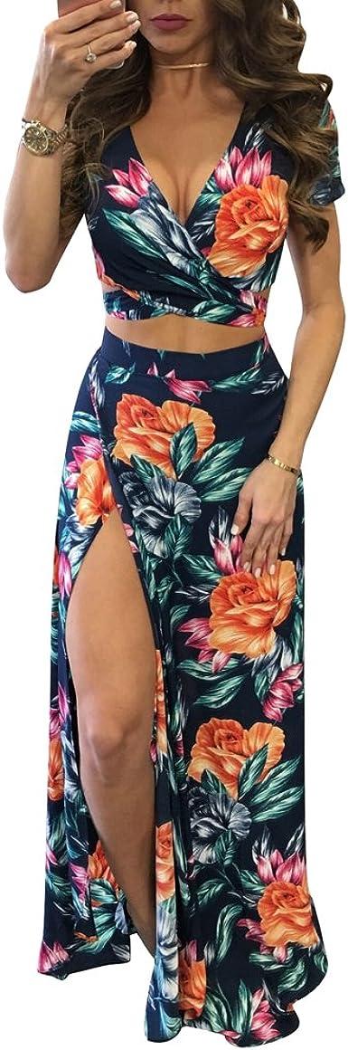 Yujeet Mujer Vestido Flor Bohemia Conjuntos de Crop Top y Falda 2