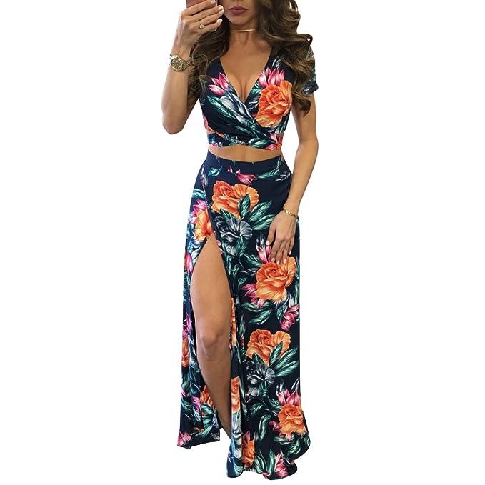 bbdc27c143 Yujeet Mujer Vestido Flor Bohemia Conjuntos de Crop Top y Falda 2 Piezas V  Cuello Irregular Vestidos de Playa  Amazon.es  Ropa y accesorios
