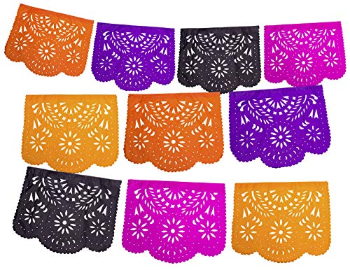 Fiesta Brands Mexican Papel Picado Banner.Day of The Dead Colors. Dia de Los Muertos Decorations Vibrant Colors Tissue Paper. Large Size Panels. Multicolored Flowers Design