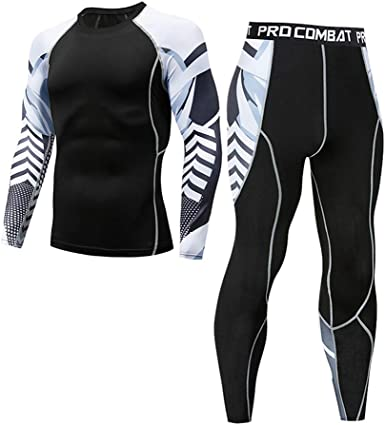 Sumen Man's Winter Leggings Fitness Sports Gear Compression Suits Skiing Running Pants+Shirt Suit