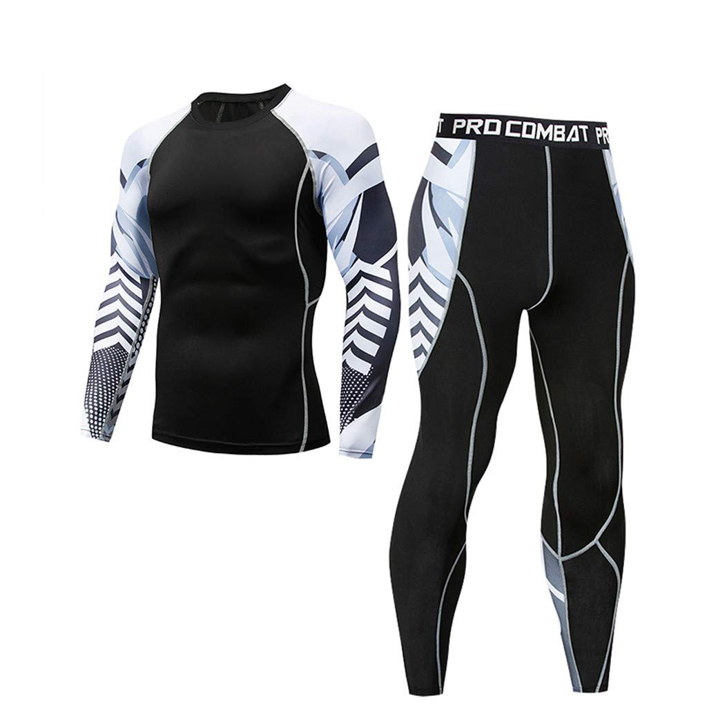 GREFER Casual Sports Set Spring Fitness Suit Fast Drying Long Sleeve T-Shirt Tights Leggings