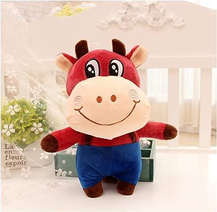 Tickles Red Animal Cattle Cow Bull ox Cartoon Dress KidPlush Toy Stuffed Doll for Kids 25 cm