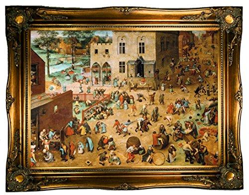 - Historic Art Gallery b1020-brueghel0002-19x26-cmfr512t96 HistoricArtGallery-Childrenメs Games 1560 by Pieter Brueghel The Elder Framed Canvas Print-Ornate Gold Gallery-19x26, 19