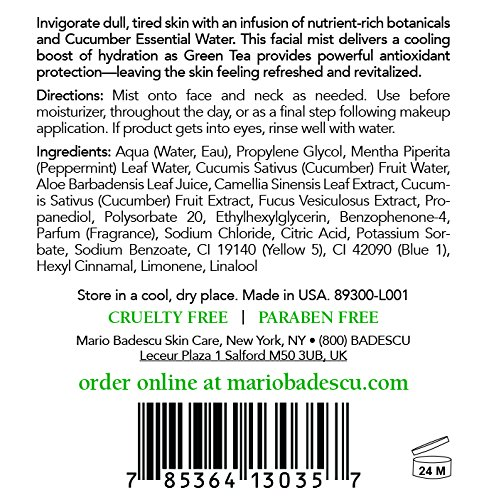 Mario Badescu Facial Spray with Rosewater & Facial Spray with Green Tea Duo, 4 oz.