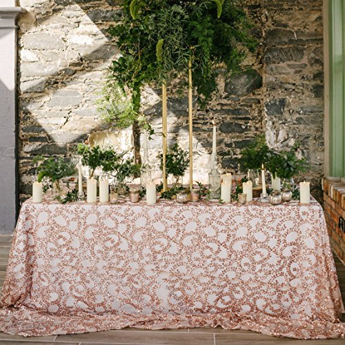 B-COOL Fabulous Rose Gold Vine Tablecloth Sequin Embroidered Table Overlay for Party Cake Dessert Table Exhibition Events - Gold Overlay Rose