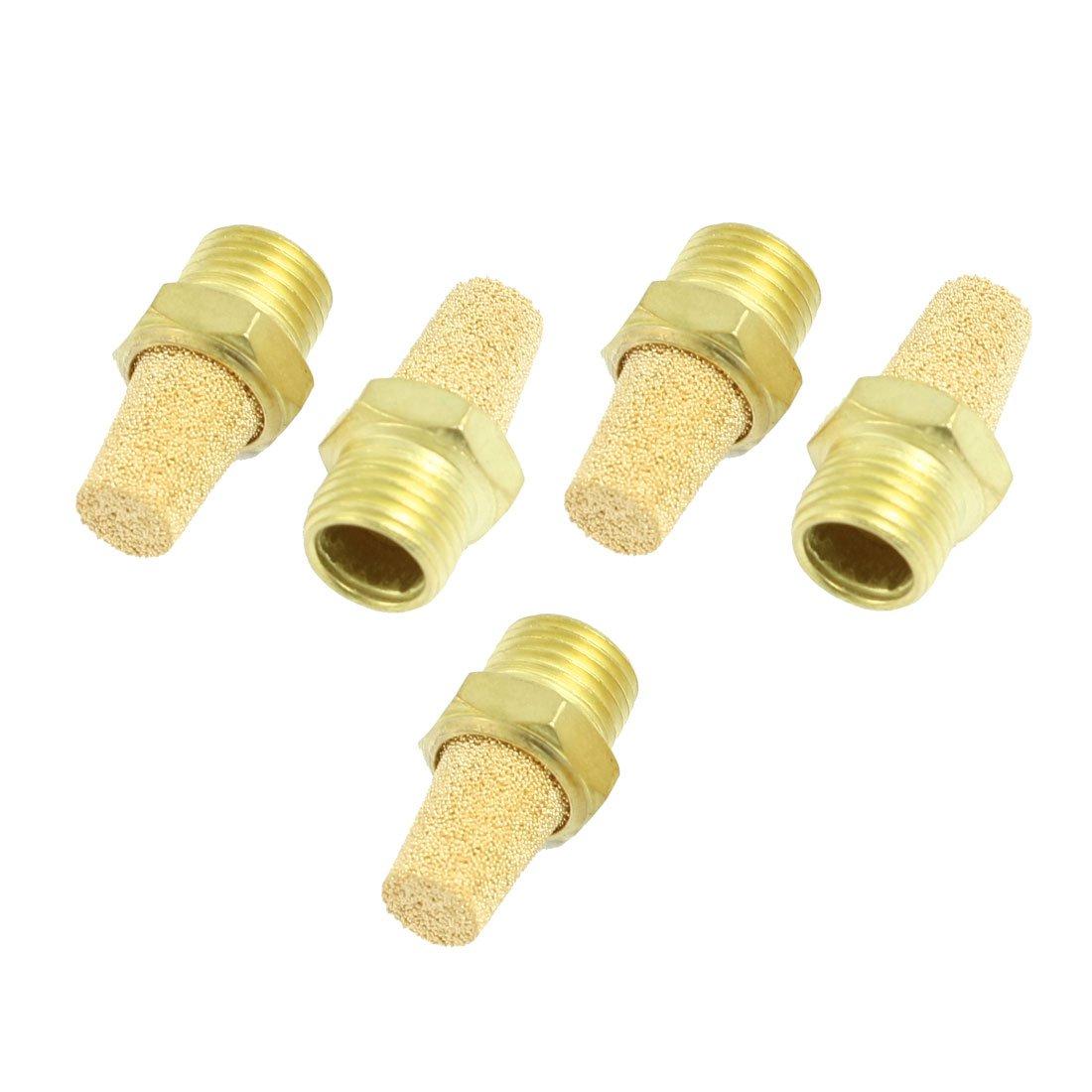 uxcell Brass Exhaust Muffler M5 Male Thread 5//16 Hex Sintered Air Pneumatic Bronze Muffler with Brass Body Protruding 10pcs