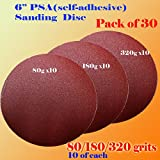 30x 6'' PSA Self Adhesive 80/180/320 Grit Sanding Disc Stick on Sandpaper Peel Air Sander Orbit