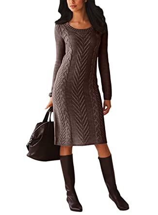 311c31e4c3 Chase Secret Womens Long Sleeve Cable Knitted Crewneck Slim Sweater Dress  Medium Brown at Amazon Women s Clothing store