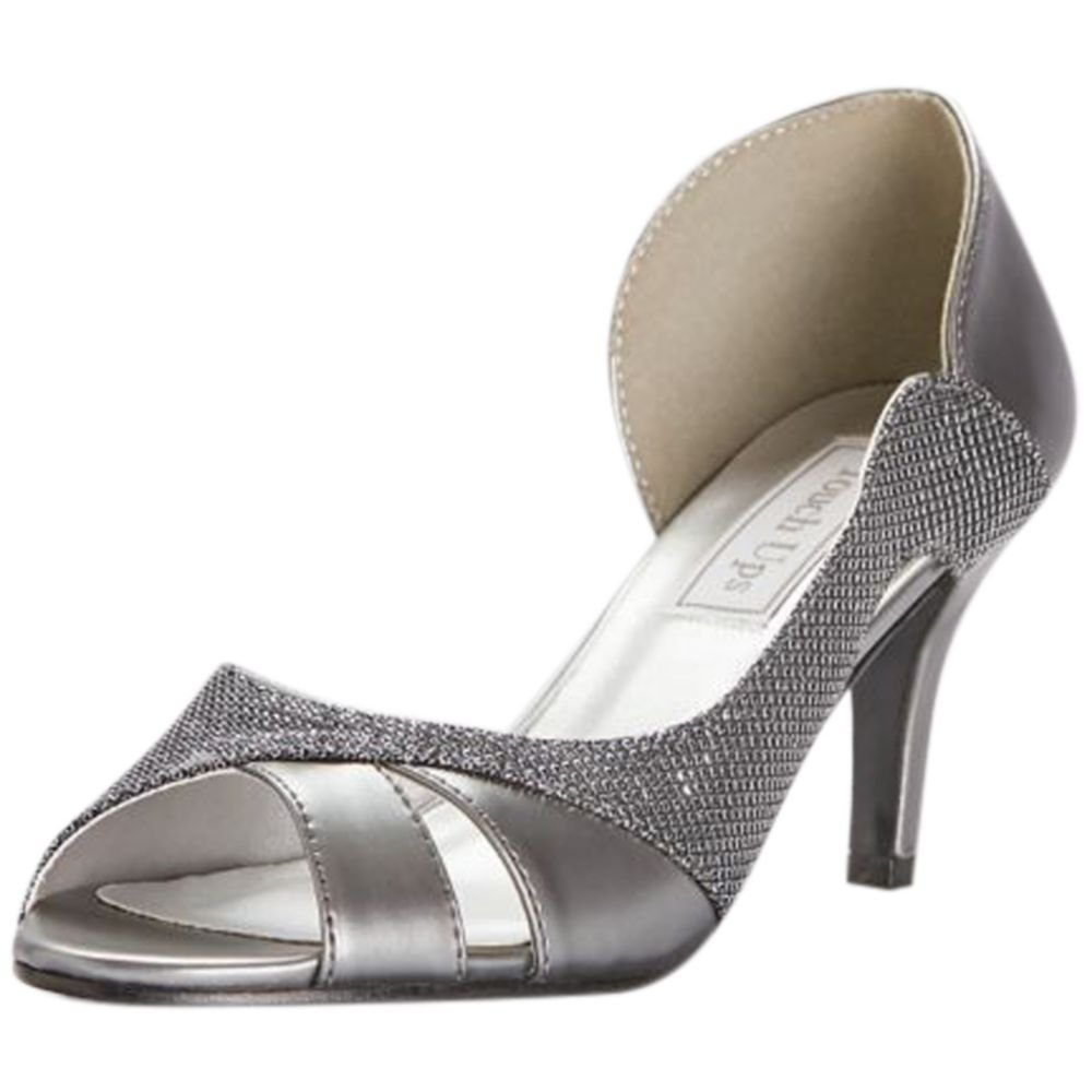 David's Bridal Metallic D Orsay Heels with Metallic Fabric Inset Style Charlie, Pewter, 10